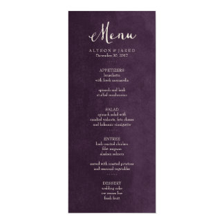 Plum Purple Wedding Menu Card