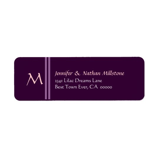 PLUM PURPLE Wedding Monogram Address Label