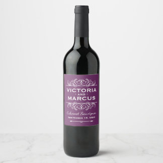 Plum Purple Wedding Wine Bottle Favour Wine Label