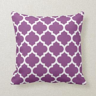 Plum Purple White Moroccan Quatrefoil Pattern #5 Throw Pillow