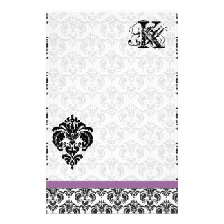 Plum Ribbon Black Damask Monogram Recycled Paper