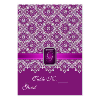 Plum & Silver Lace Wedding Table Setting PlaceCard Business Cards