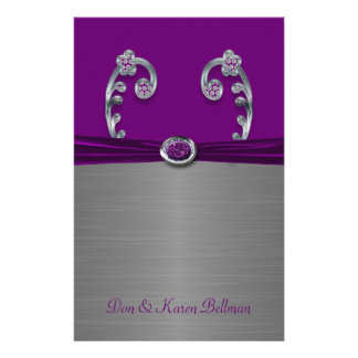Plum & Silver Metallic Flourish Personalized Stationery
