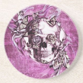 Plum smoke skull with butterflies. coaster