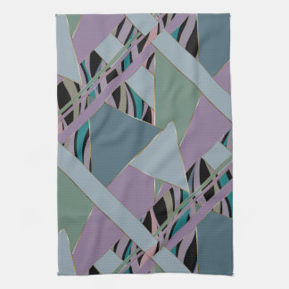 Plum Steel Moss Geometric WhimsicalArtwork™ Kitchen Towel