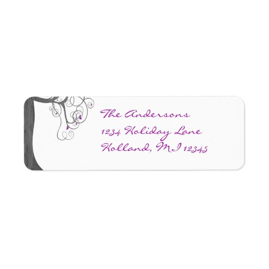 Plum Swirl Wood Grain Tree Return Address Return Address Label