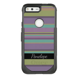 Plum, Teal and Olive Striped Pattern Add Your Name OtterBox Commuter Google Pixel Case