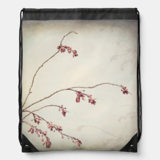Plum Tree Branch with Spring Buds | Seabeck, WA Drawstring Bag