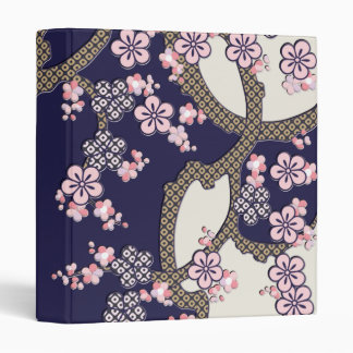 Plum tree flowers traditional japanese textile binder