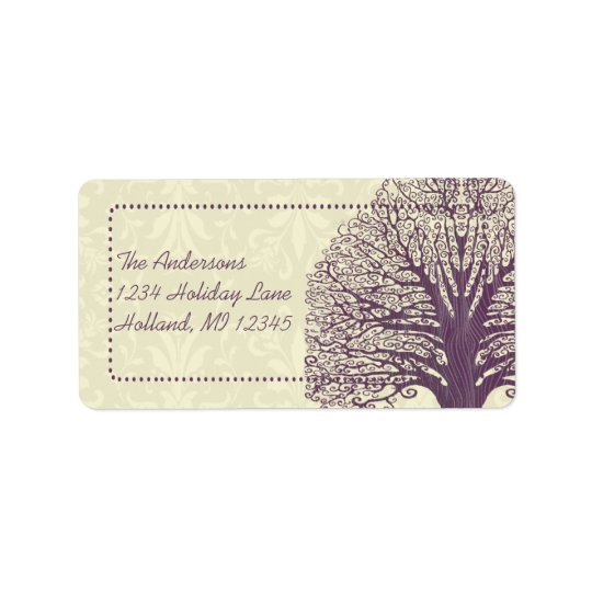 Plum Tree Ivory Damask Return Address Labels