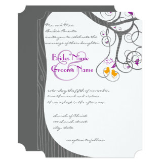 Plum Tree Wood Grain Love Birds Wedding Invitation