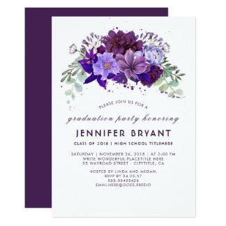 Plum Violet Purple Floral Elegant Graduation Party Card