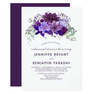Plum Violet Purple Floral Elegant Rehearsal Dinner Card