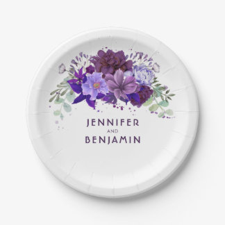 Plum Violet Purple Floral Elegant Wedding Paper Plate