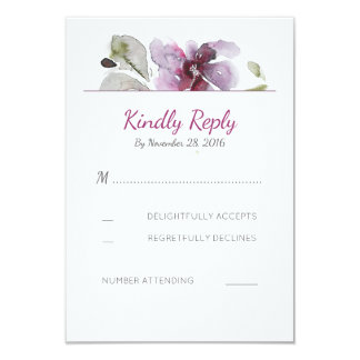 Plum Watercolor Blossom Wedding RSVP Cards
