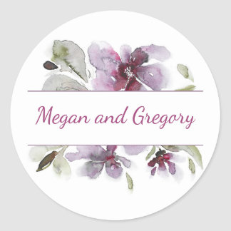 Plum Watercolor Flowers Elegant Wedding Classic Round Sticker