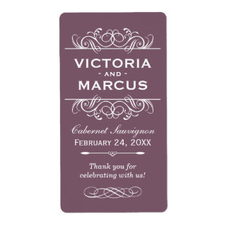 Plum Wedding Wine Bottle Monogram Favor Labels