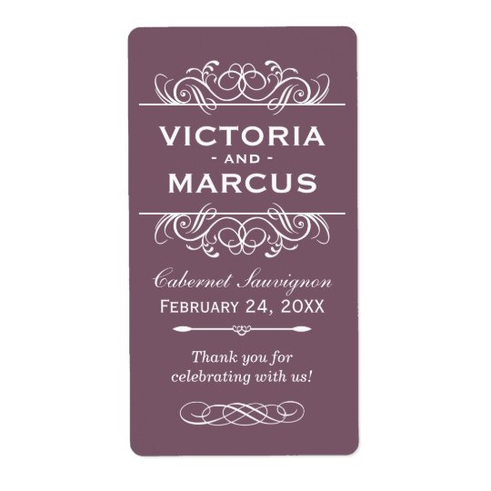 Plum Wedding Wine Bottle Monogram Favour Labels