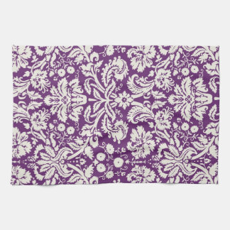 Plum White Damask Pattern Kitchen Towel