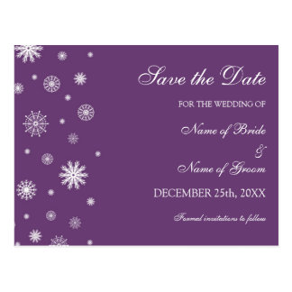 Plum White Save the Date Winter Wedding Postcard