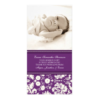 Plum White Thank You Baby Shower Photo Cards