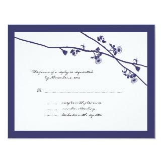 Plum Wild Flower Branches Wedding RSVP Card