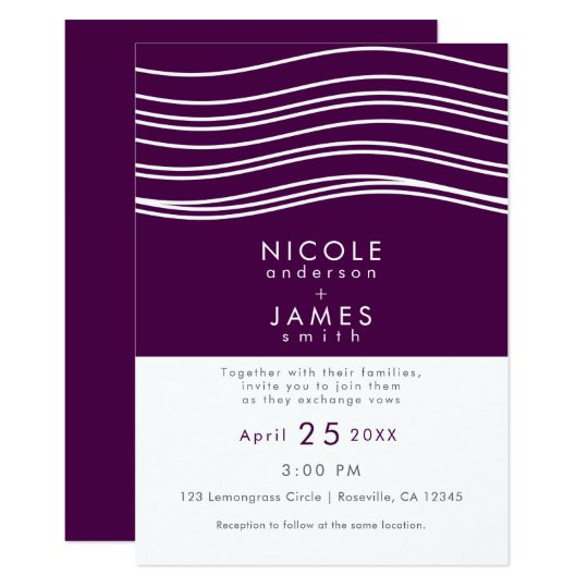 Plum Wine Purple & White Wave Chic Modern Wedding Card