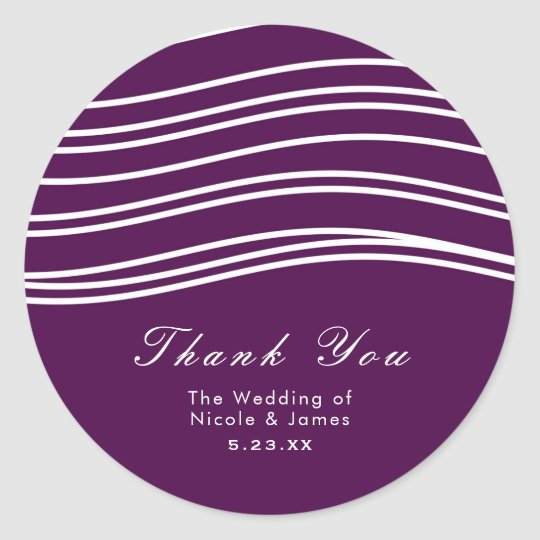 Plum Wine Purple & White Wave Chic Modern Wedding Classic Round Sticker