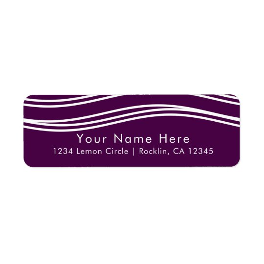 Plum Wine Purple & White Wave Chic Modern Wedding Return Address Label