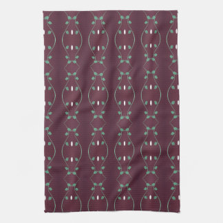 Plum With Green Leaf Detail Hand Towel