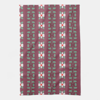 Plum With Red And Green Leaf Detail Hand Towel