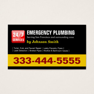 Plumber - 24 HOUR EMERGENCY PLUMBING SERVICES Business Card