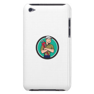 Plumber Arms Crossed Circle Cartoon Barely There iPod Cases