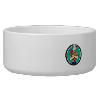 Plumber Arms Crossed Circle Cartoon Pet Water Bowl