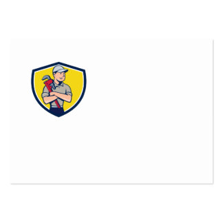 Plumber Arms Crossed Crest Cartoon Large Business Card