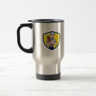 Plumber Arms Crossed Crest Cartoon Travel Mug