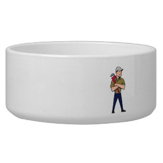 Plumber Arms Crossed Standing Cartoon Pet Bowl