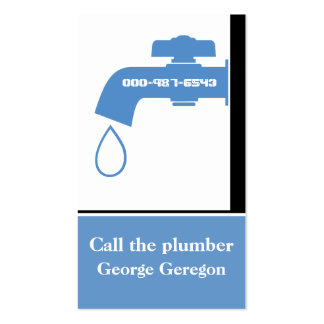 Plumber blue, white tap eye-catching plumbing Double-Sided standard business cards (Pack of 100)