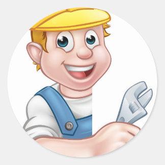 Plumber Cartoon Character Classic Round Sticker