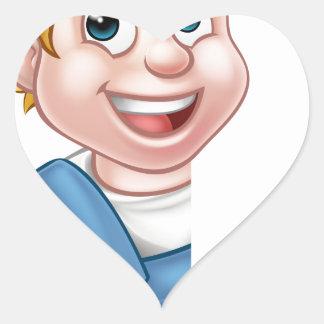 Plumber Cartoon Character Heart Sticker