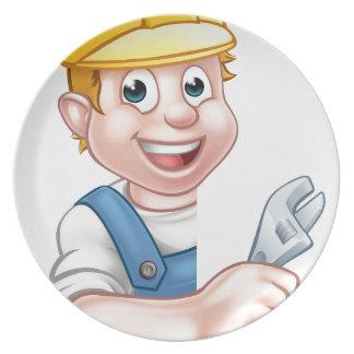 Plumber Cartoon Character Plate