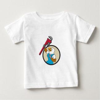 Plumber Eagle Raising Up Pipe Wrench Circle Cartoo Baby T-Shirt