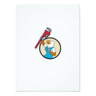Plumber Eagle Raising Up Pipe Wrench Circle Cartoo Card