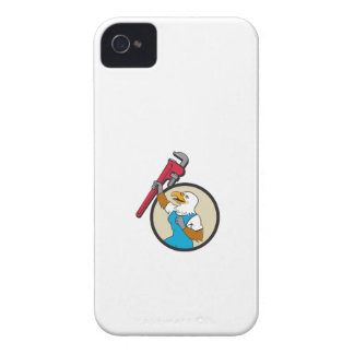 Plumber Eagle Raising Up Pipe Wrench Circle Cartoo iPhone 4 Case