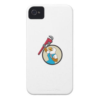 Plumber Eagle Raising Up Pipe Wrench Circle Cartoo iPhone 4 Covers