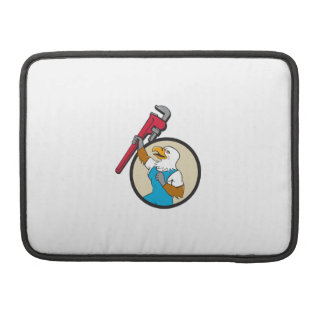 Plumber Eagle Raising Up Pipe Wrench Circle Cartoo Sleeve For MacBooks