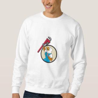 Plumber Eagle Raising Up Pipe Wrench Circle Cartoo Sweatshirt