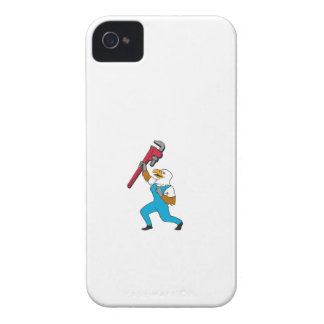 Plumber Eagle Standing Pipe Wrench Cartoon iPhone 4 Cover