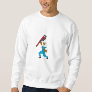 Plumber Eagle Standing Pipe Wrench Cartoon Sweatshirt