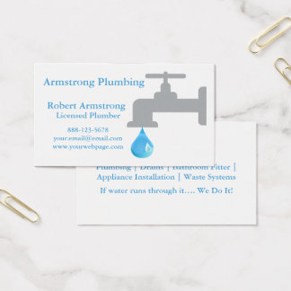 Plumber Faucet Water Drop Business Card